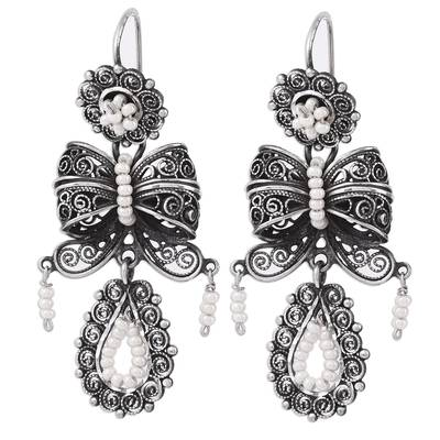 Glass Beaded Filigree Chandelier Earrings from Mexico