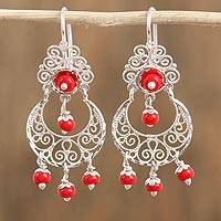 Glass beaded filigree chandelier earrings, 'Basket Swirls' - Red Glass Beaded Filigree Chandelier Earrings from Mexico