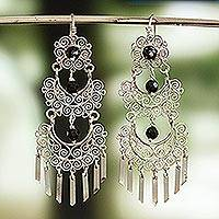 Sterling silver filigree chandelier earrings, 'Color of My Country' - Sterling Silver Filigree Chandelier Earrings from Mexico