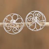 Sterling silver filigree button earrings,