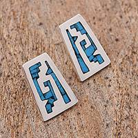 Sterling silver drop earrings, 'Sky Blue Pyramids' - Pre-Hispanic Sterling Silver Drop Earrings from Mexico