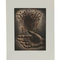 'Omen' - Evocative Surrealist Ink Print from Mexico