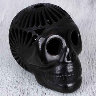 Ceramic sculpture, 'Death and Life' - Barro Negro Ceramic Skull Sculpture from Mexico