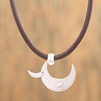Silver pendant necklace, 'Crescent Duck' - Adjustable Silver Duck Pendant Necklace from Mexico