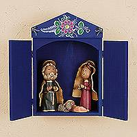 Ceramic nativity scene, 'Sweet Scene' - Ceramic Nativity Scene with Blue Wood Retablo