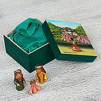 Ceramic nativity scene in wood decorative box, 'Warm Tradition' - Ceramic 3-Piece Nativity Scene in Wood Box with Painted Lid