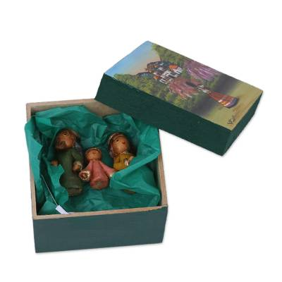 Ceramic 3-Piece Nativity Scene in Wood Box with Painted Lid