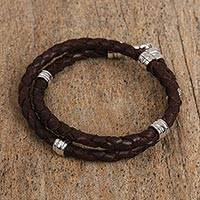 Rhodium plated leather beaded wrap bracelet, 'Charming Vanguard' - Rhodium Plated Leather Beaded Wrap Bracelet from Mexico