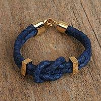 Gold plated leather pendant bracelet, 'Royal Knot' - Gold Plated Leather Bracelet in Royal Blue from Mexico