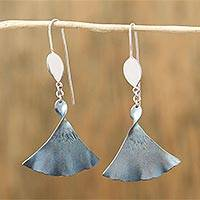 Titanium dangle earrings, 'Medusa Twist' - Titainum and Sterling Silver Dangle Earrings from Mexico