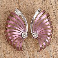 Titanium ear climber earrings, 'Nautilus Spirals' - Titanium and Silver Ear Climber Earrings from Mexico