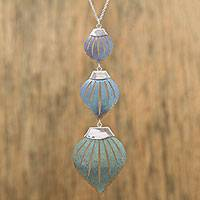 Titanium pendant necklace, 'Sea Snail' - Titanium and Sterling Silver Pendant Necklace from Mexico