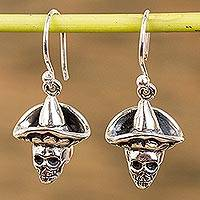Sterling silver dangle earrings, 'Horseman Catrin' - Sterling Silver Day of the Dead Dangle Earrings from Mexico