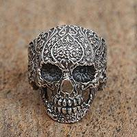 Sterling silver dome ring, 'Skull of Life' - Sterling Silver Skull Ring from Mexico