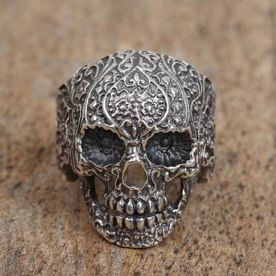 Sterling silver dome ring, Skull of Life