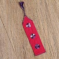 Cotton bookmark, 'Book Lover' - Red Hand Woven Cotton Bookmark with Embroidery