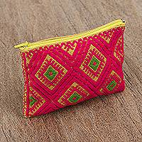 Cotton coin purse, 'Vivid' - Diamond Pattern Yellow and Red Coin Purse