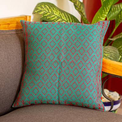 Cotton cushion cover, Turquoise Diamonds