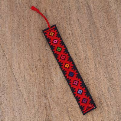 Cotton bookmark, 'Dynamic Diamonds' - Hand Crafted Multi-Color Embroidered Cotton Bookmark