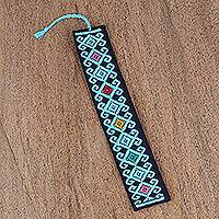 Cotton bookmark, 'Scrolling Diamonds in Blue' - Hand Crafted Sky Blue on Navy Embroidered Cotton Bookmark
