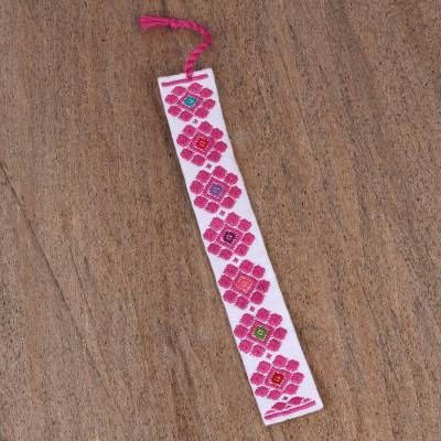 Cotton bookmark, 'Diamond Daisies' - Hand Crafted Pink Flower Embroidered White Cotton Bookmark