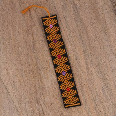 Cotton bookmark, 'Graphic Pinecone in Mustard' - Hand Crafted Multi-Color Embroidered Cotton Bookmark
