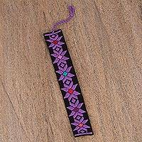 Cotton bookmark, 'Purple Star Flower in Black' - Hand Crafted Multi-Color Embroidered Cotton Bookmark