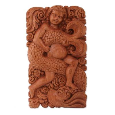Wood relief panel, 'Mermaid Beauty' - Hand Carved Wood Relief Panel Mermaid in Sea and Flowers