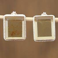 Amber drop earrings, 'Misty View' - Rectangular Amber Framed in Sterling Silver Drop Earrings
