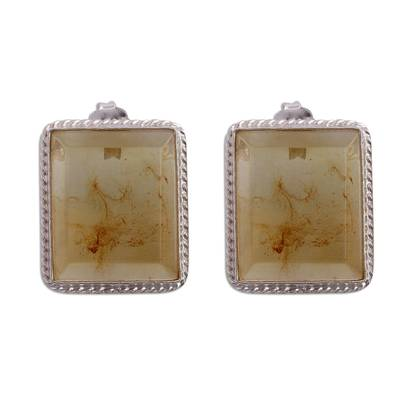 Rectangular Amber Framed in Sterling Silver Drop Earrings