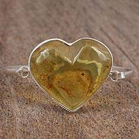 Amber pendant bangle bracelet, 'Sun's Love' - Amber and Sterling Silver Bangle Heart Pendant Bracelet