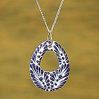 Ceramic pendant necklace, 'Indigo Morning' - Ceramic Puebla-Style Blue Floral Egg-Shaped Pendant Necklace