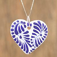 Ceramic pendant necklace, 'True Blue' - Ceramic Puebla-Style Blue Floral Heart Pendant Necklace