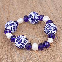 Cultured pearl and ceramic beaded stretch bracelet,
