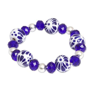 Ceramic Puebla Bead, Blue and Silver Stretch Bracelet