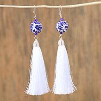 Ceramic bead dangle earrings, 'Whisper Breeze' - Ceramic Puebla-Style Bead and White Tassel Dangle Earrings