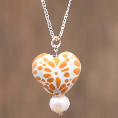 Cultured pearl and ceramic pendant necklace, 'Warm Glow' - Ceramic Puebla-Style Orange Floral Heart Pendant Necklace