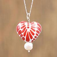 Cultured pearl and ceramic pendant necklace, 'Heart Bouquet' - Ceramic Puebla-Style Red Floral Heart Pendant Necklace