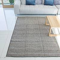 Wool area rug, 'Subtlety' (4x6.5) - Hand Woven 100% Wool Beige and Brown Area Rug (4x6.5)