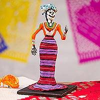 Papier mache statuette, 'Catrina' - Hand Sculpted Day of the Dead Woman Papier Mache Statuette