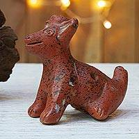 Ceramic ocarina, 'Pre-Hispanic Puppy' - Handcrafted Ceramic Pre-Hispanic Puppy Ocarina Flute