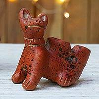 Ceramic ocarina, 'Sitting Dog' - Mexican Handcrafted Terracotta Dog Ocarina Flute