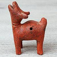 Ceramic ocarina, 'Barking Dog' - Terracotta Barking Dog Pre-Hispanic Style Ocarina Flute