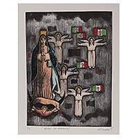 'Queen of America' - Signed Modern Mexican Print of Mother Mary