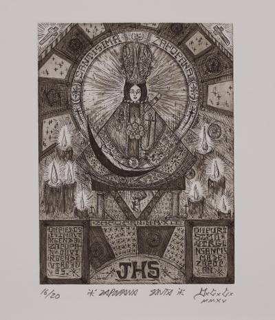 Signed Black and White Modern Print of Mary from Mexico