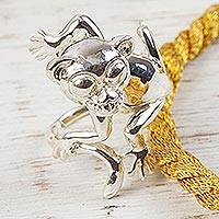Sterling silver cocktail ring, 'Monkey Around' - Sterling Silver Monkey Cocktail Ring