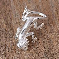 Sterling silver cocktail ring, 'Playful Gecko' - Sterling Silver Gecko Cocktail Ring
