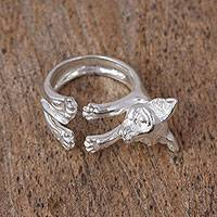 Sterling silver wrap ring, 'Chihuahua' - Sterling Silver Chihuahua Wrap Ring