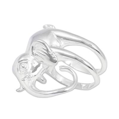Sterling Silver Elephant Cocktail Ring