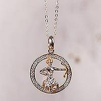 Gold-accented sterling silver pendant necklace, 'Celestial Archer' - Sagittarius Gold Accent Sterling Silver Pendant Necklace